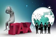 3d man in tax problem Stock Photo