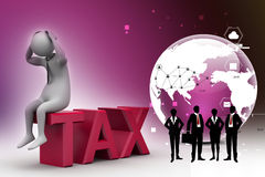 3d man in tax problem Royalty Free Stock Images