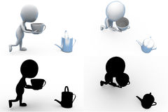 3d man tea concept collections with alpha and shadow channel Stock Photos