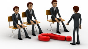 3d man teacher asking question to students concept Royalty Free Stock Photo