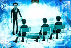 3d man teacher asking question to students illustration Stock Image