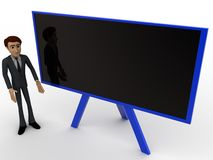 3d man teacher teaching on black board concept Royalty Free Stock Photography