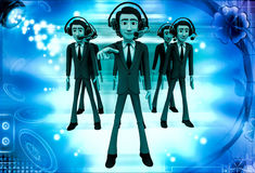 3d man team of call center illustration Royalty Free Stock Photo