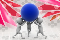 3d man team carry ball  illustration Stock Images