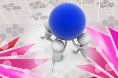 3d man team carry ball  illustration Royalty Free Stock Photos