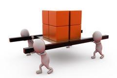 3d man team carry box concept Stock Images