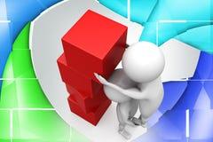 3d man team cube illustration Stock Images