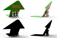 3d man team with goal arrow concept collections with alpha and shadow channel Stock Image