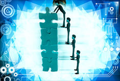 3d man team make tall construction of jigsaw puzzle piece illustration Royalty Free Stock Images