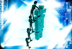 3d man team make tall construction of jigsaw puzzle piece illustration Stock Photography