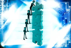 3d man team make tall construction of jigsaw puzzle piece illustration Stock Photos