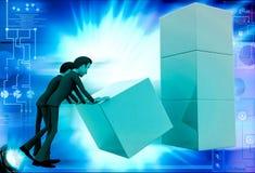 3d man team placing  box illustration Stock Photography