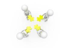 3d man team puzzle concept Stock Photo