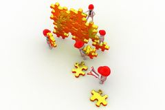 3d man team puzzle concept Royalty Free Stock Images