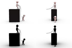 3d man team rope concept collections with alpha and shadow channel Royalty Free Stock Image