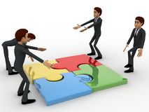 3d man team solving puzzle concept Royalty Free Stock Image