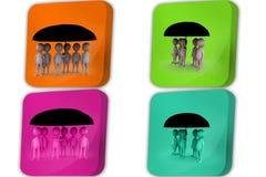 3d man team under umbrella icon Royalty Free Stock Photos