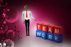3d man with team work concept. In color background Royalty Free Stock Photography