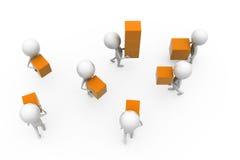 3d man teamwork boxes concept Stock Photo