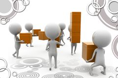 3d man teamwork boxes illustration Stock Images