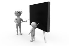 3d man tearcher board concept Stock Photography