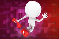 3d man and telephone illustration Stock Images