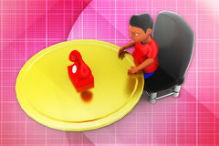 3d man telephone illustration Royalty Free Stock Images