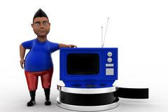 3d man with television and film reel Stock Photography
