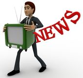 3d man with television in hand and news text concept Stock Photo