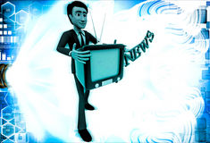 3d man with television in hand and news text illustration Stock Image
