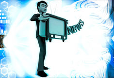 3d man with television in hand and news text illustration Royalty Free Stock Photo