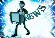 3d man with television in hand and news text illustration Royalty Free Stock Image