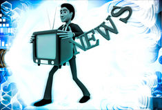 3d man with television in hand and news text illustration Stock Photos