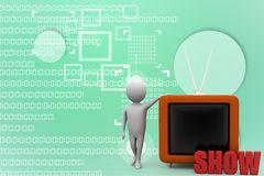 3d man with television Illustration Stock Image