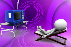3d man television illustration Royalty Free Stock Images