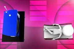 3d man television illustration Stock Image