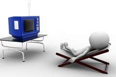 3d man television illustration Stock Photos