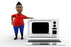 3d man television laptop Royalty Free Stock Images