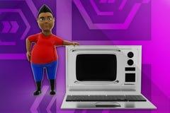 3d man television laptop illustration Royalty Free Stock Image