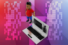 3d man television laptop illustration Royalty Free Stock Images