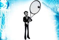 3d man with tennis racket and ball illustration Royalty Free Stock Images