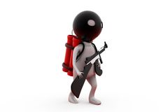 3d man terrorist with bomb concept Royalty Free Stock Photography