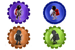 3d Man terrorist with bomb icon Royalty Free Stock Images