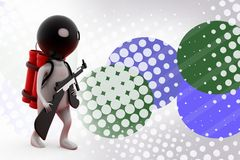 3d man terrorist with bomb  illustration Royalty Free Stock Images