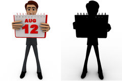 3d man 12th august calendar concept collections with alpha and shadow channel Royalty Free Stock Photo