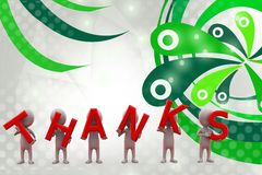3d man with thanks  illustration Royalty Free Stock Photos