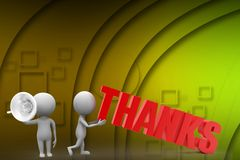 3d man with thanks illustration Stock Photography