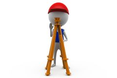 3d man with theodolite measuring concept Stock Photo