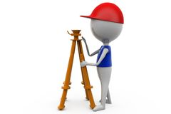3d man with theodolite measuring concept Royalty Free Stock Photo