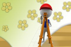 3d man with theodolite measuring illustration Royalty Free Stock Photos